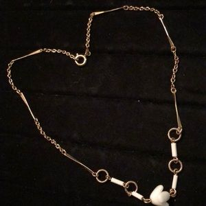 Jewelry - Gold Tone with White accents/pendant Necklace 14""